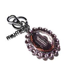 Miu Miu Trick Metallo Rosa Pink Oval Crystal Plex Charm Key Chain Key Ring 5tm092