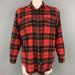 RALPH LAUREN Size L Red Plaid Wool Button Up Long Sleeve Shirt