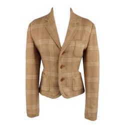 Ralph Lauren Size 8 Plaid Camel Wool Suede Trim Jacket