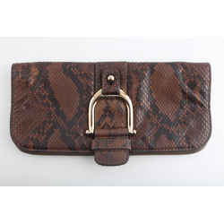 Gucci Cognac Taupe Black Snakeskin Leather Horsebit Evening Clutch