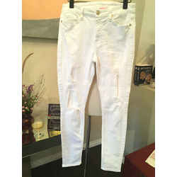 7 For All Mankind Sz 27 White Stretch Cotton  Skinny Jeans - 3-339-91519