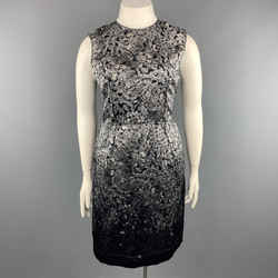 Lanvin Size 8 Grey & Black Diamonds Print Satin Sleeveless Shift Dress