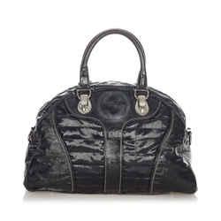 Black Gucci Snow Glam Leather Handbag Bag
