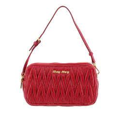 Vintage Authentic Miu Miu Red Calf Leather Mini Matelasse Baguette France