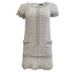 Chanel White Black And Silver Tweed Embellished Dress