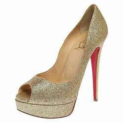 Christian Louboutin Gold Glitter Lady Peep Toe Platform Pumps Size 37