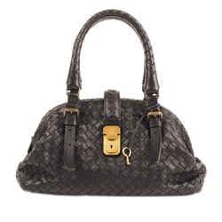 Vintage Authentic Bottega Veneta Black Mini Intrecciato Leather Handbag Italy
