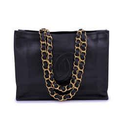 Chanel Vintage Black Chunky Chain Shopper Tote Bag 24k GHW