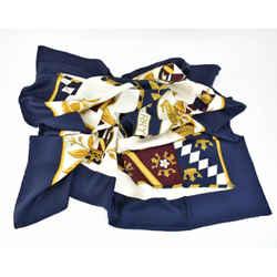 "BURBERRY: Navy/Gold/Cream & ""Prorsum Knight"" Logo, Scarf/Foulard 34"" x 34"" (rr)"