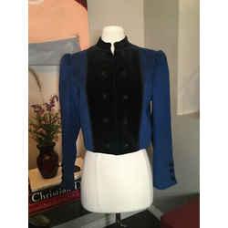 Saint Laurent Blue Black Wool Velvet Military Jacket Vintage 369-122-8820