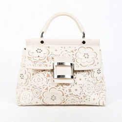 Roger Vivier Bag Viv Cabas White Floral Laser Cut Leather Satchel