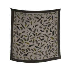 Hermes Beige Olive Cashmere Silk Feathers Scarf