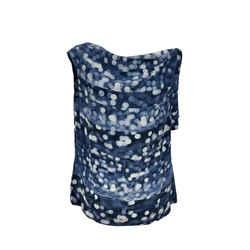 Dries Van Noten Blue Printed Silk Sleeveless Shell Top Size 38 FR