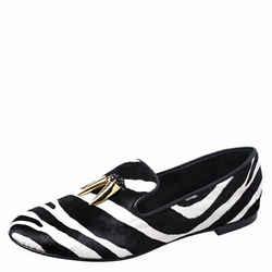 Giuseppe Zanotti Zebra Print Calfhair Shark Tooth Smoking Slippers Size 40