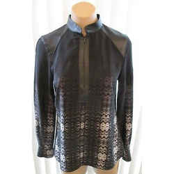Parker Black W/ White Patterned Silk Tunic W/ Leather Collar And Insets - Small