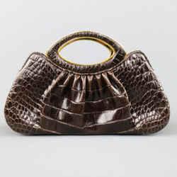 Judith Leiber Brown & Gold Alligator Leather Evening Handbag