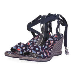 NEW CHANEL Badminton Print Canvas Ankle Strap Espadrille Wedges- Blue -Size 39