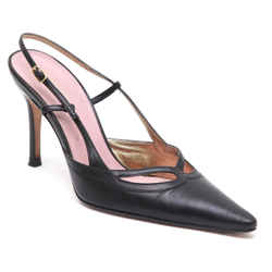 DOLCE & GABBANA Black Leather Slingback Pump Gold-Tone Sz 37.5