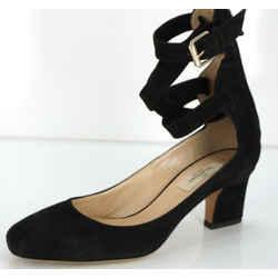 Valentino Plum Ankle Wrap Block Heel Sandal Sz 37 Black Suede $995 Nib