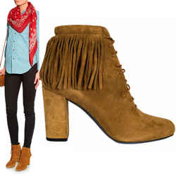 37.5 NEW $895 SAINT LAURENT Tan Suede 70 BABIES Fringe Boho ANKLE BOOTS