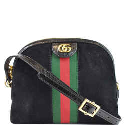 GUCCI Ophidia GG Small Suede Shoulder Bag Black 499621