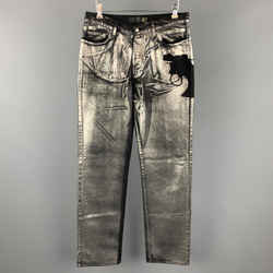 Just Cavalli Size 30 Black & Silver Metallic Painted Denim Pistol Jeans