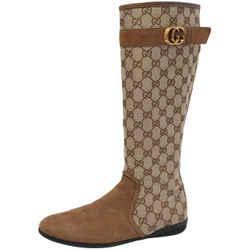 Gucci Monogram GG Logo Canvas Tall Boots