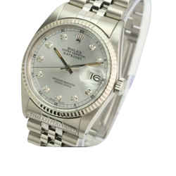 Rolex Mens Datejust Silver Diamond Dial 18k Fluted Bezel 36mm Watch