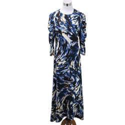 Proenza Schouler Blue Print Viscose Long Dress sz 8