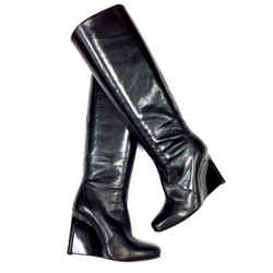 Calvin Klein Collection Black Leather Patent Leather Wedge Heels Tall Boots Size: 36/6