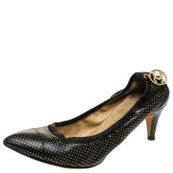 Chanel Black/Gold Polka Dot Leather Scrunch Pumps Size 38