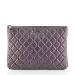O Case Clutch Quilted Iridescent Calfskin Large