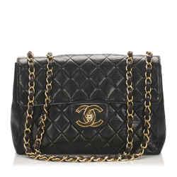 Vintage Authentic Chanel Black Jumbo Classic Lambskin Single Flap Bag France
