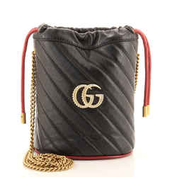 GG Marmont Bucket Bag Diagonal Quilted Leather Mini