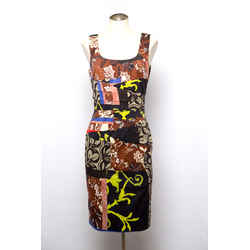 Oscar De La Renta Brown/black Cotton With Mixed Print