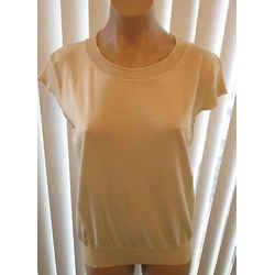 Piazza Sempione Beige Cap Sleeve Top W/ Pattern At Neckline - Size 12