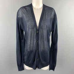 Dries Van Noten Size M Navy Cotton / Cashmere Sheer Knit Cardigan
