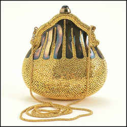Rdc11270 Authentic Judith Leiber Gold Crystal Minaudiere Chatelaine Evening Bag