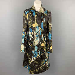 MARNI Size 6 Brown & Blue Print Silk / Wool Buttoned Coat
