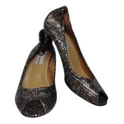 Lanvin Pewter Leather Snake Print Embossed Peep Toe Pumps Size: US 7.5 Regular (M, B) Item #: 21422065