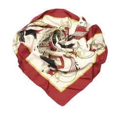 Vintage Authentic Hermes Brown Les Voitures a Transformation Silk Scarf France