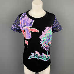 KENZO Size S Black Floral Cotton Short Sleeve T-shirt
