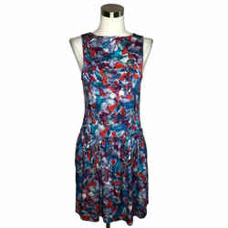 N684 Theory Designer Dress Size 6 Small Blue Purple Floral A-line Sundress