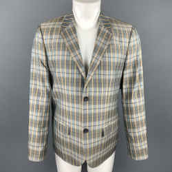 Marc By Marc Jacobs Size L Teal Blue Plaid Silk Notch Lapel Sport Coat