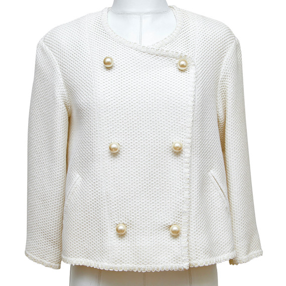 CHANEL Tweed Jacket Coat White Pearl 3/4 Sleeve Double Breasted 2013 13S Sz 34