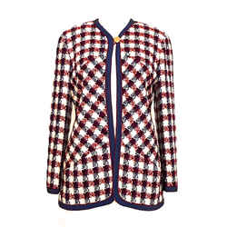 Chanel Boucle One Button Jacket In Navy, Burgundy And Ivory, Very Pretty 42 / 8