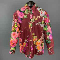 Dolce & Gabbana Size 2 Burgundy Floral Print Shantung Silk Dress Shirt