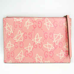 Gucci Star Pattern GHOST 445597 Women's Leather Clutch Bag Pink,White BF518098
