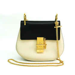 Chloe Drew Mini Women's Leather Shoulder Bag Black,Off-white BF518062