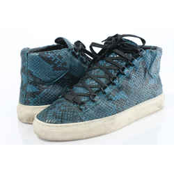 Balenciaga Men's Arena Python-embossed Leather High-top Sneaker